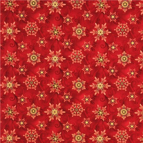 Red Snowflake Gold Christmas Fabric Winter Sanctuary