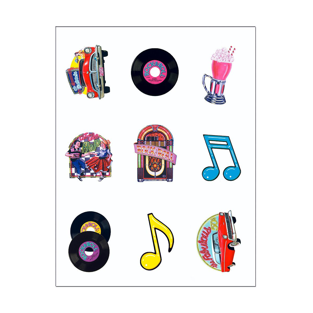 50s rock and  roll stationary   ... for larger picture of CLEAR-SHEET 50S STICKERS(48/CS) PARTY SUPPLIES