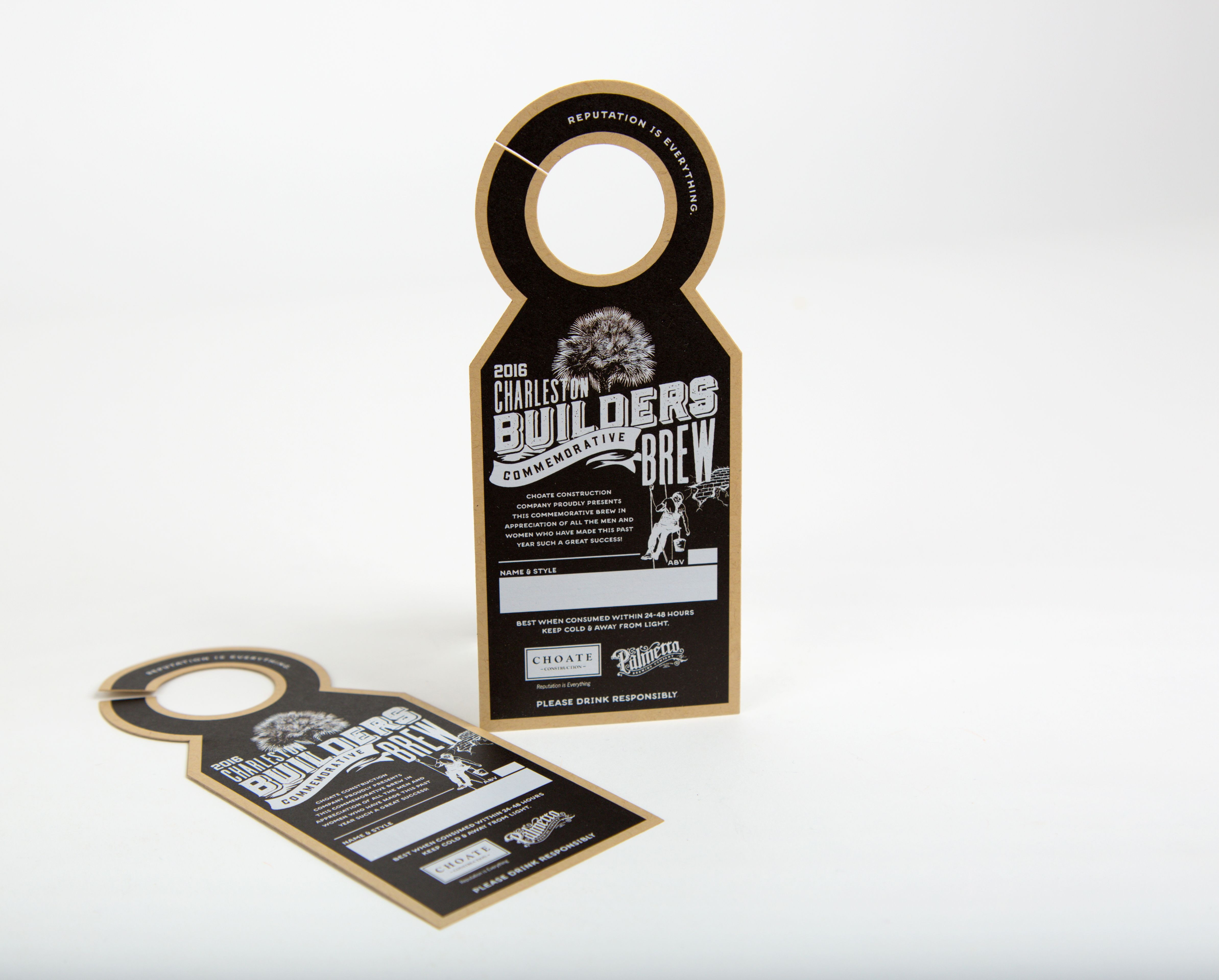 Digital Laser Die Cut Hang Tag - Design Credit: Catherine Yaw, Manager of Graphic Design, Shoate Construction Company
