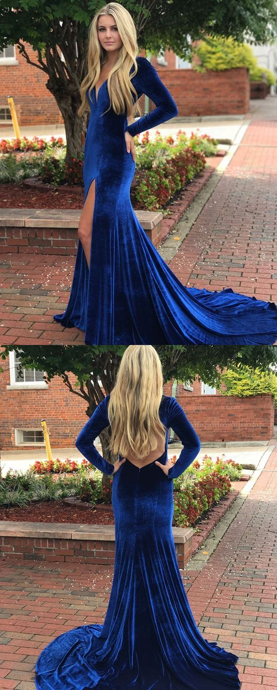 Mermaid long sleeves velvet royal blue prom dress v neck formal