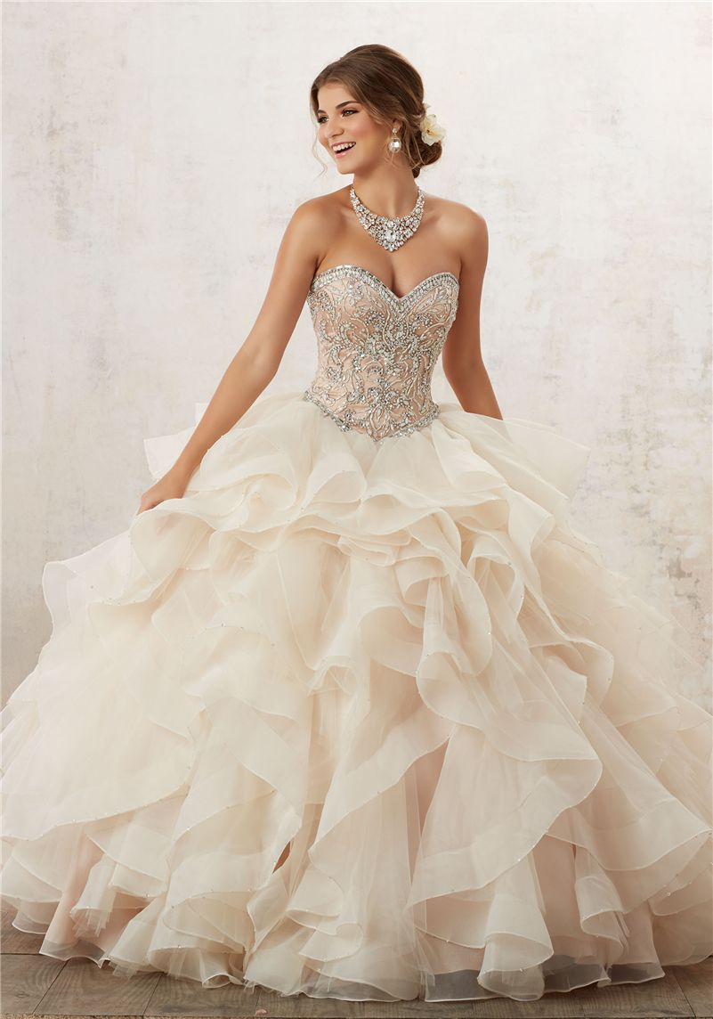 6fde3829833 Find More Quinceanera Dresses Information about 2016 Lovely Champagen Coral  Quinceanera Dresses With Beaded Crystals Ruffles Organza Sweet 16 Dress  Vestidos ...
