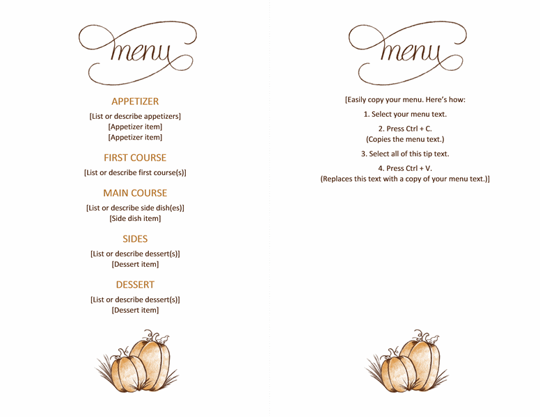 free downloadable printable thanksgiving menu templates office