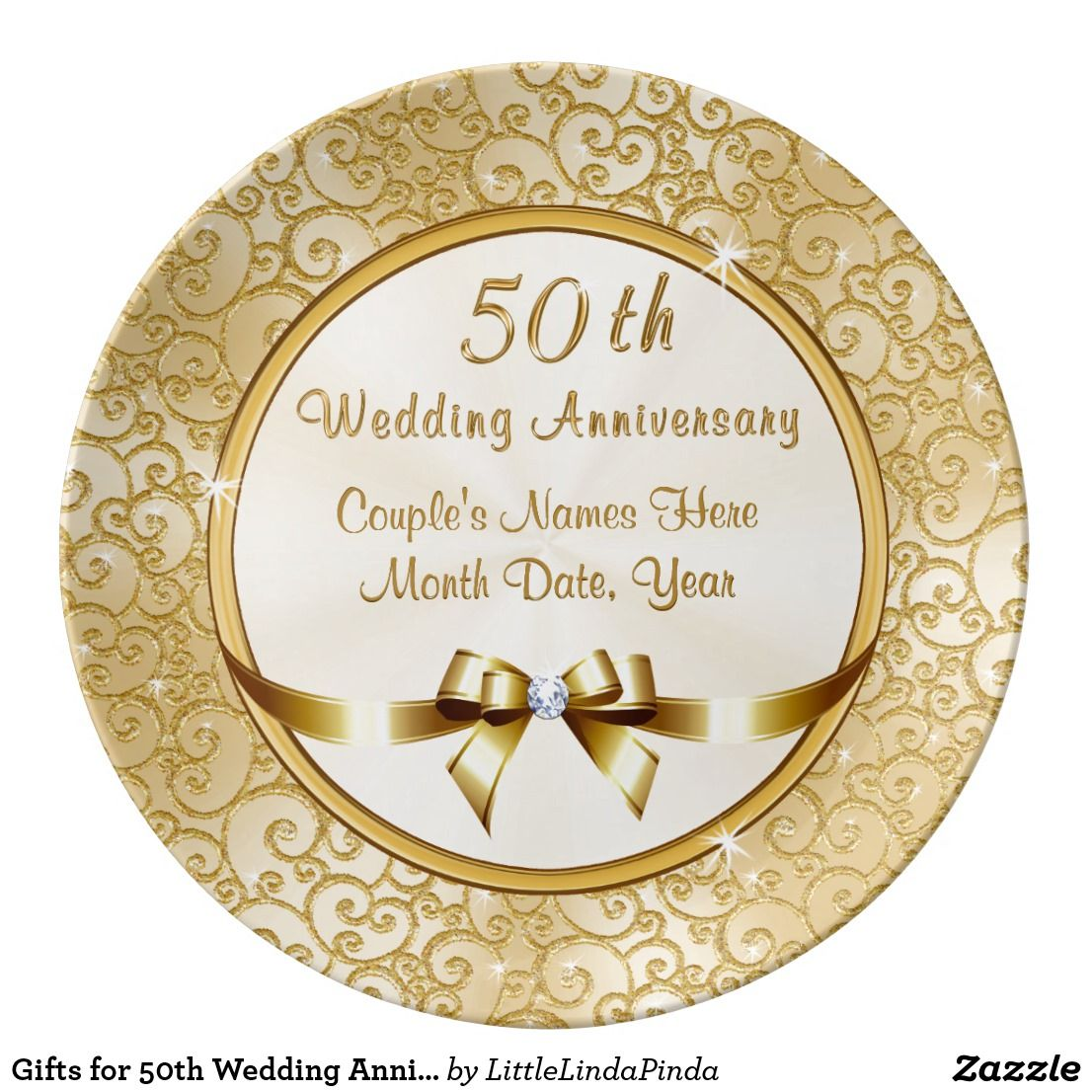 Gifts For 50th Wedding Anniversary For Friends Dinner Plate Zazzle Com Golden Wedding Anniversary Gifts 50th Wedding Anniversary 50th Anniversary Gifts