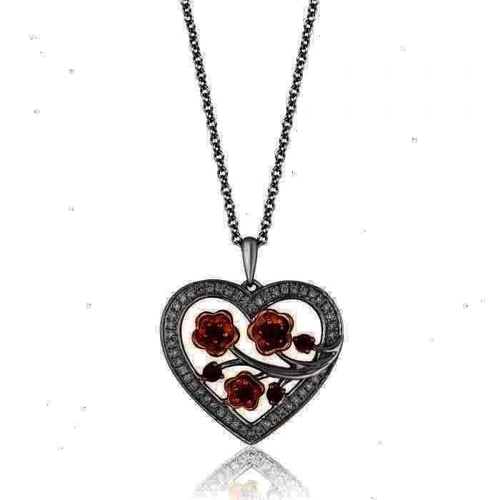 Diamant Herz Anhänger Halskette  Enchanted Disney Fine Jewelry Mulans Kirschblüten Granat und Diamant Herz Anhänger Halskette 1  5ctw Enchanted Disney Fine...