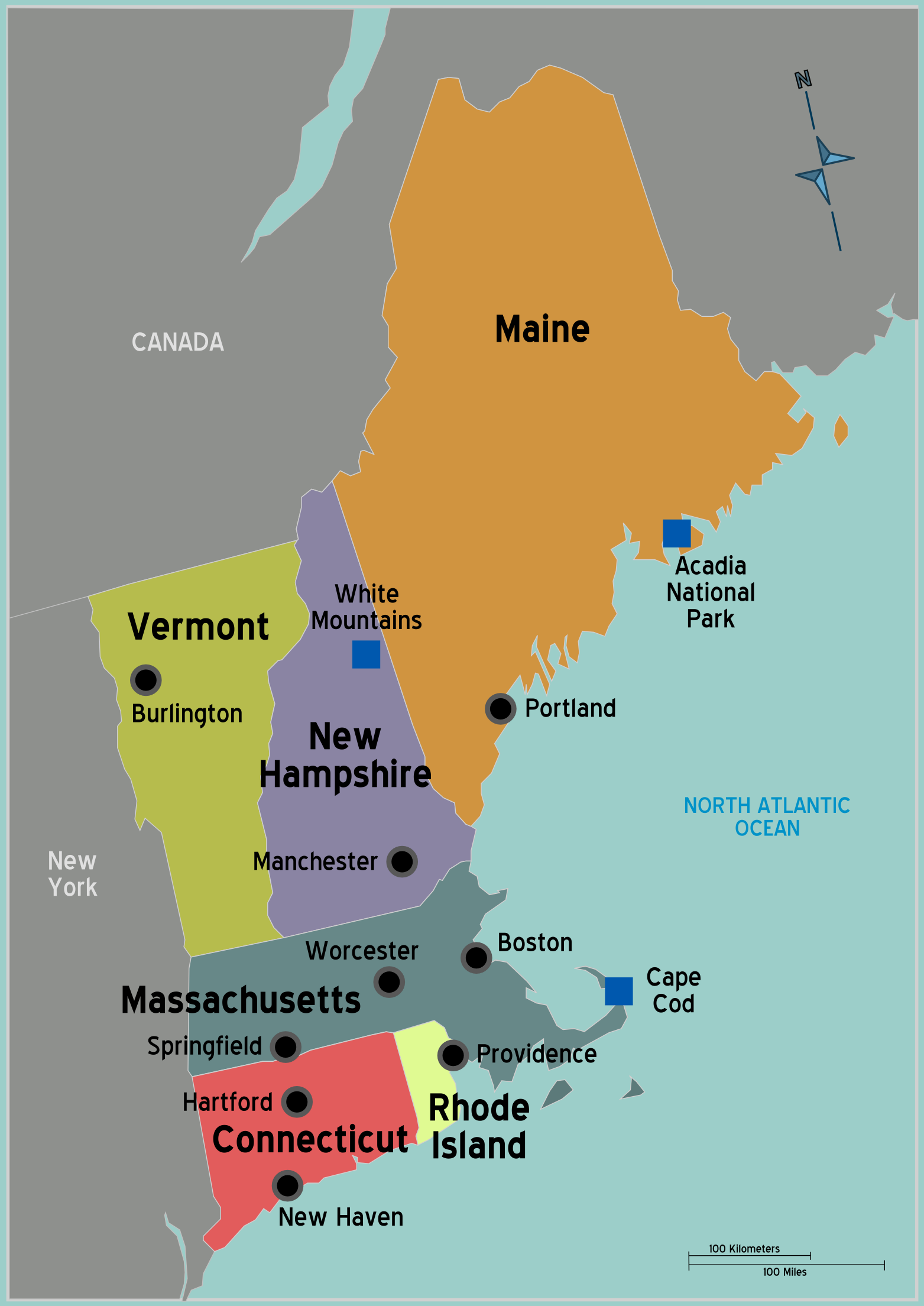 New England States Goal For My Th Birthday Fly To Maine In - Road map maine usa