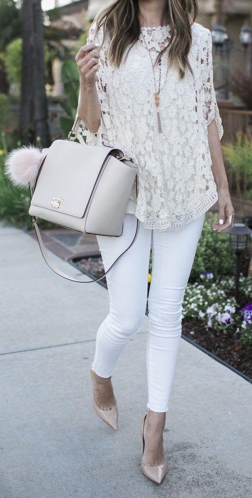 53e98c99b7 Try layering all white fabrics over white jeans like Merrick White by Just  The Design https