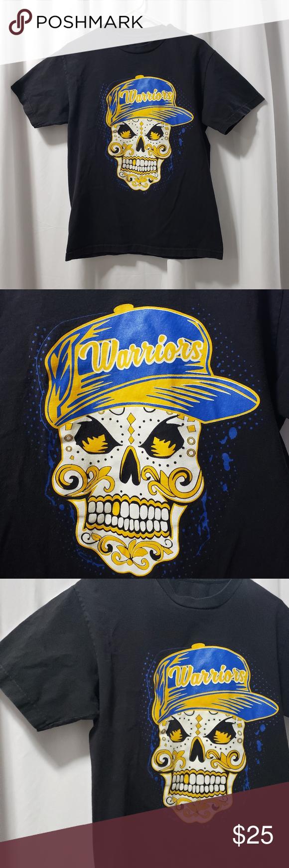 Golden State Warriors Shirt NBA Sugar Skull Tee M Golden