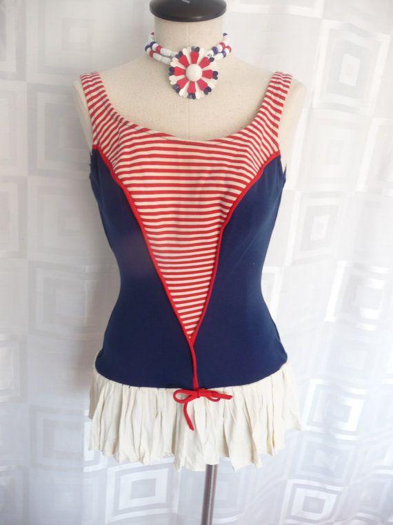 80433aa745 50s 60s Swimsuit Sailor Girl Vintage Pin Up Swim Suit | Fashion ...