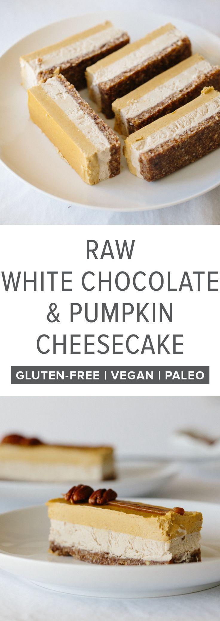 Raw White Chocolate and Pumpkin Cheesecake (gluten-free, vegan, paleo). Raw White Chocolate and Pumpkin Cheesecake - A delicious, seasonal, fall dessert that's a great alternative to pumpkin pie.