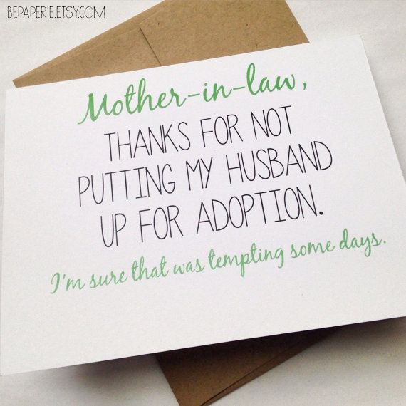 Mother In Law Card Mothers Day Card Mom Birthday Card Funny