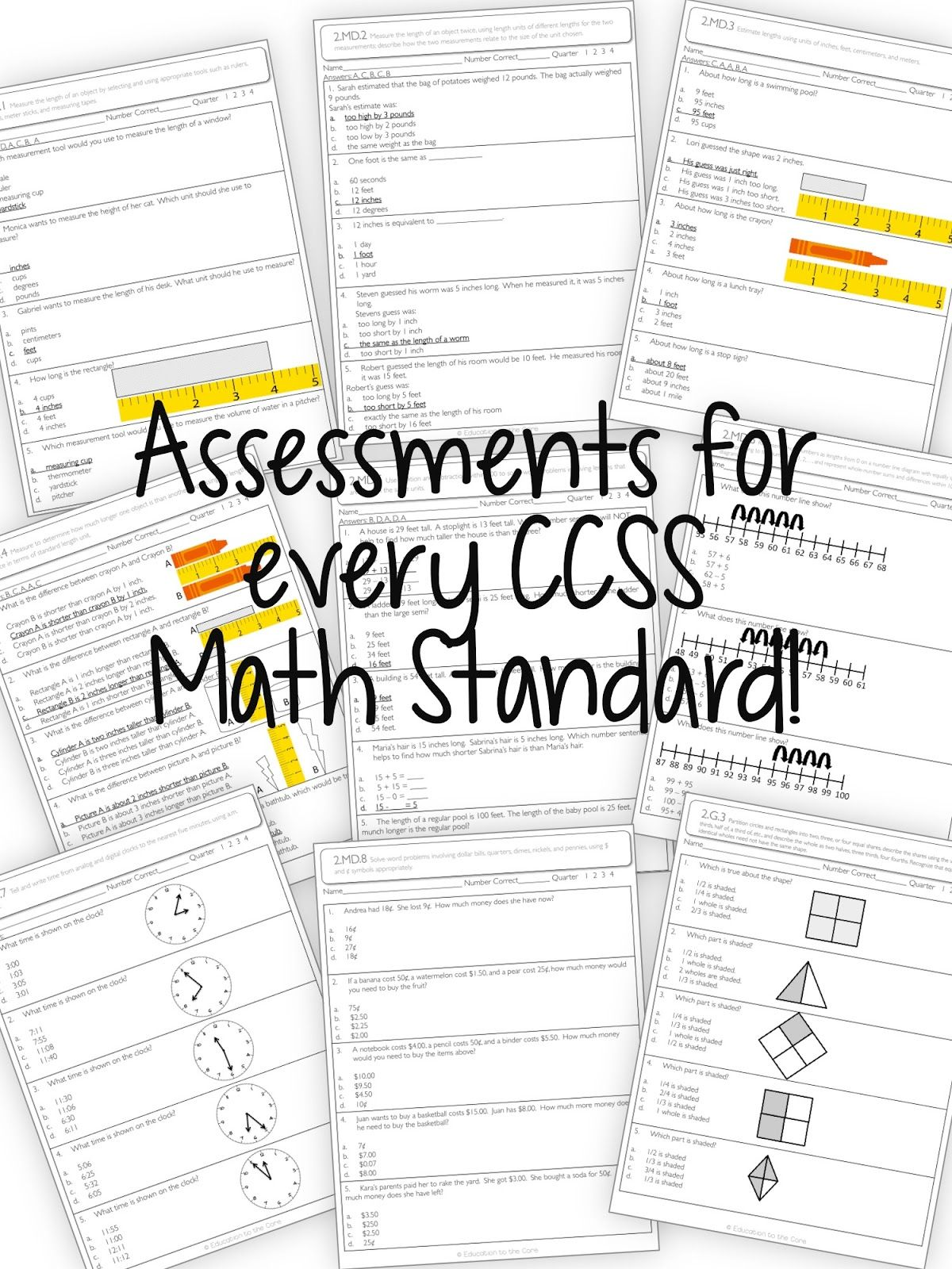 Common Core Assessments for Second grade. Great way to