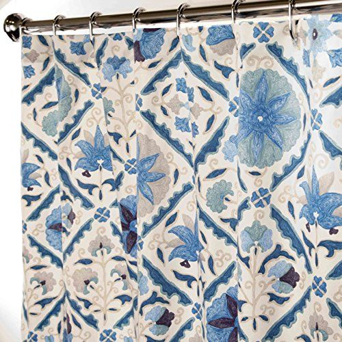 Extra Long Shower Curtains Bathroom Curtains Blue Suzani Fabric Shower  Curtains 84u2033 Long | Curtain