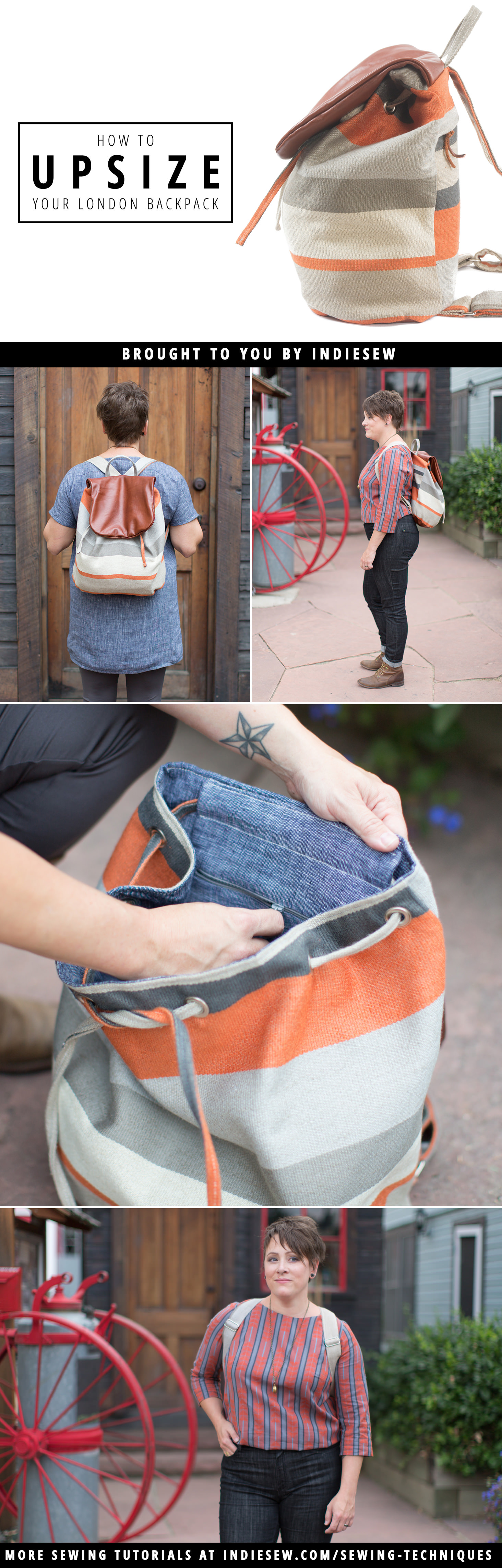Find out how to upsize your London Backpack for a great accessory for those on-the-go! | Indiesew.com