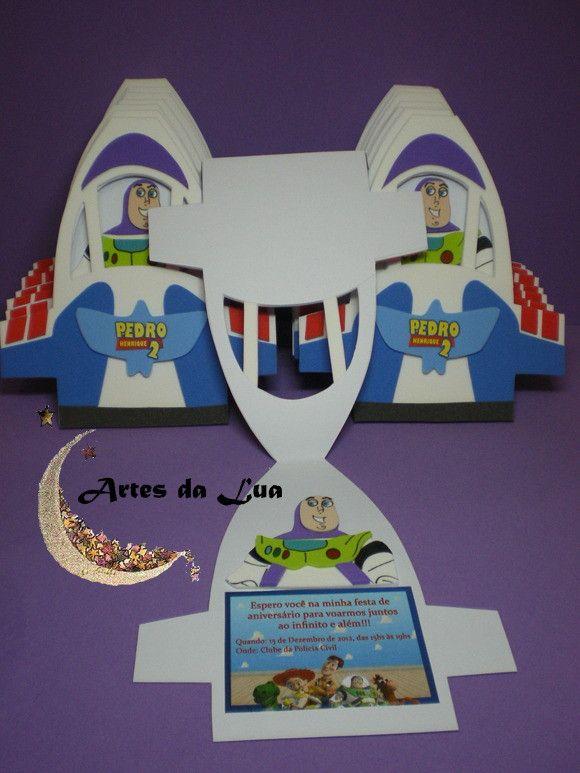 Convite Nave Buzz Lightyear Confeccionado Em Papel Cartão E