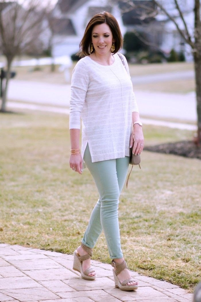 798a844d9dc How to Wear Pastel Jeans  Mint Skinnies with Pale Grey Stripes and High Wedge  Sandals