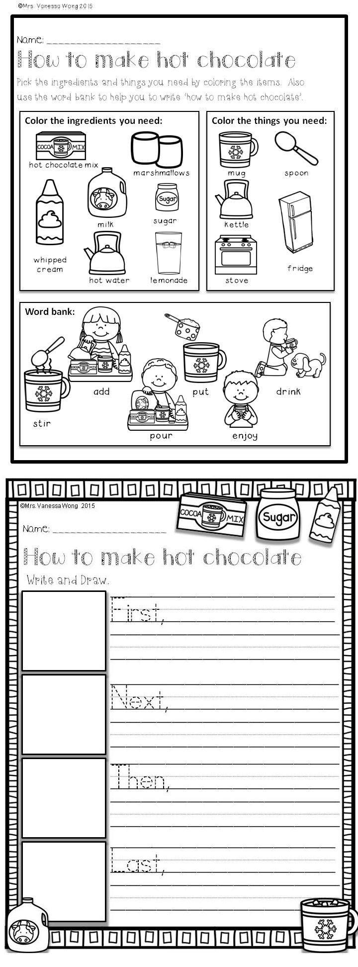 Winter Math And Literacy No Prep Printables First Grade First Grade Writing Kindergarten Writing Writing Activities
