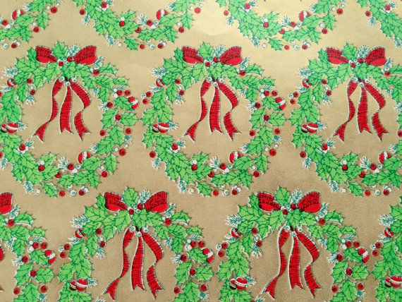 Vintage Christmas Gift Wrapping Paper - Gold Paper with Christmas