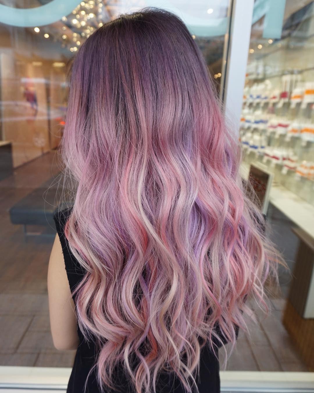 ombre purple hair color long