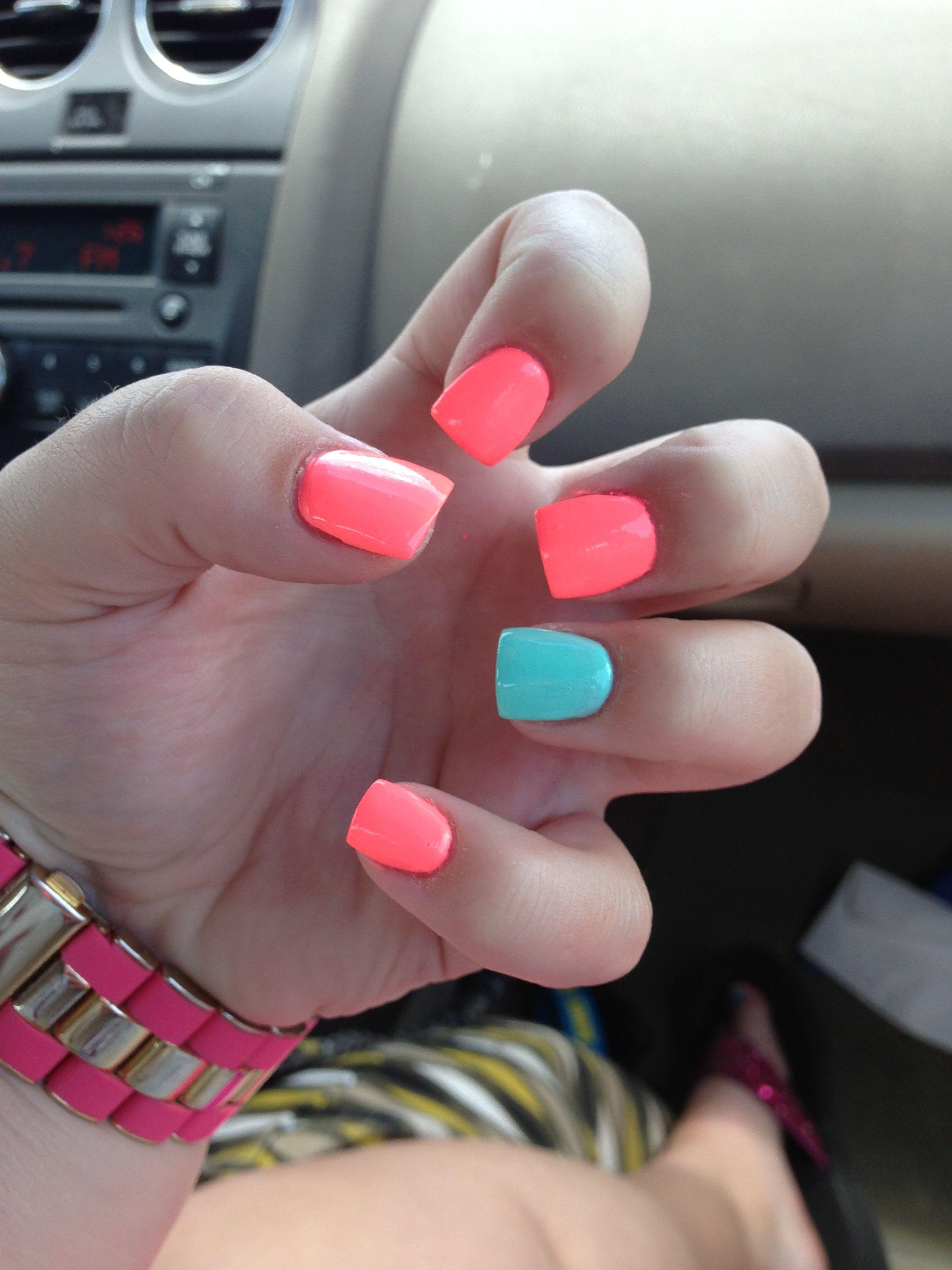 Light turquoise, and neon orange acrylic nails!!! | Nails | Pinterest