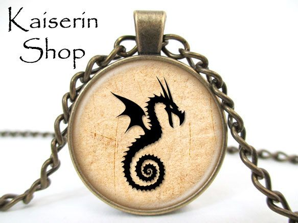 Dragon Necklace, Dragon Symbol Necklace, Pendant, Charm, Jewelry by KaiserinShop on Etsy