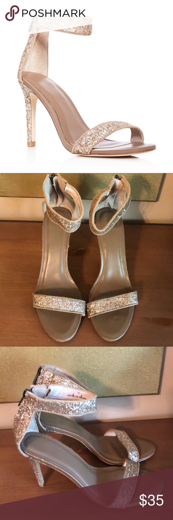 Joie Adriana Glitter Ankle Strap HighHeel Sandals Ankle
