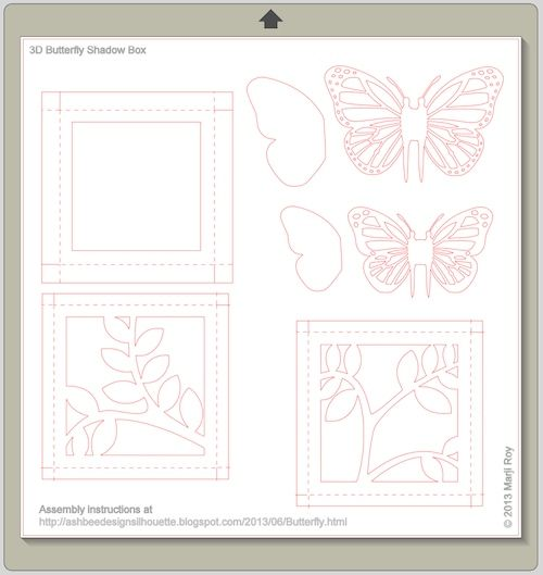 Ashbee Design Silhouette Projects D Butterfly Shadow Box