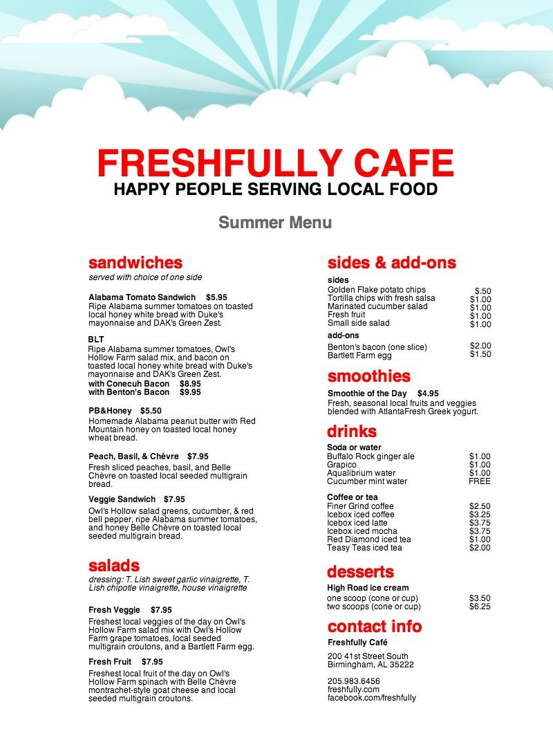 Summer Café Menu | Freshfully Café | Pinterest | Menu