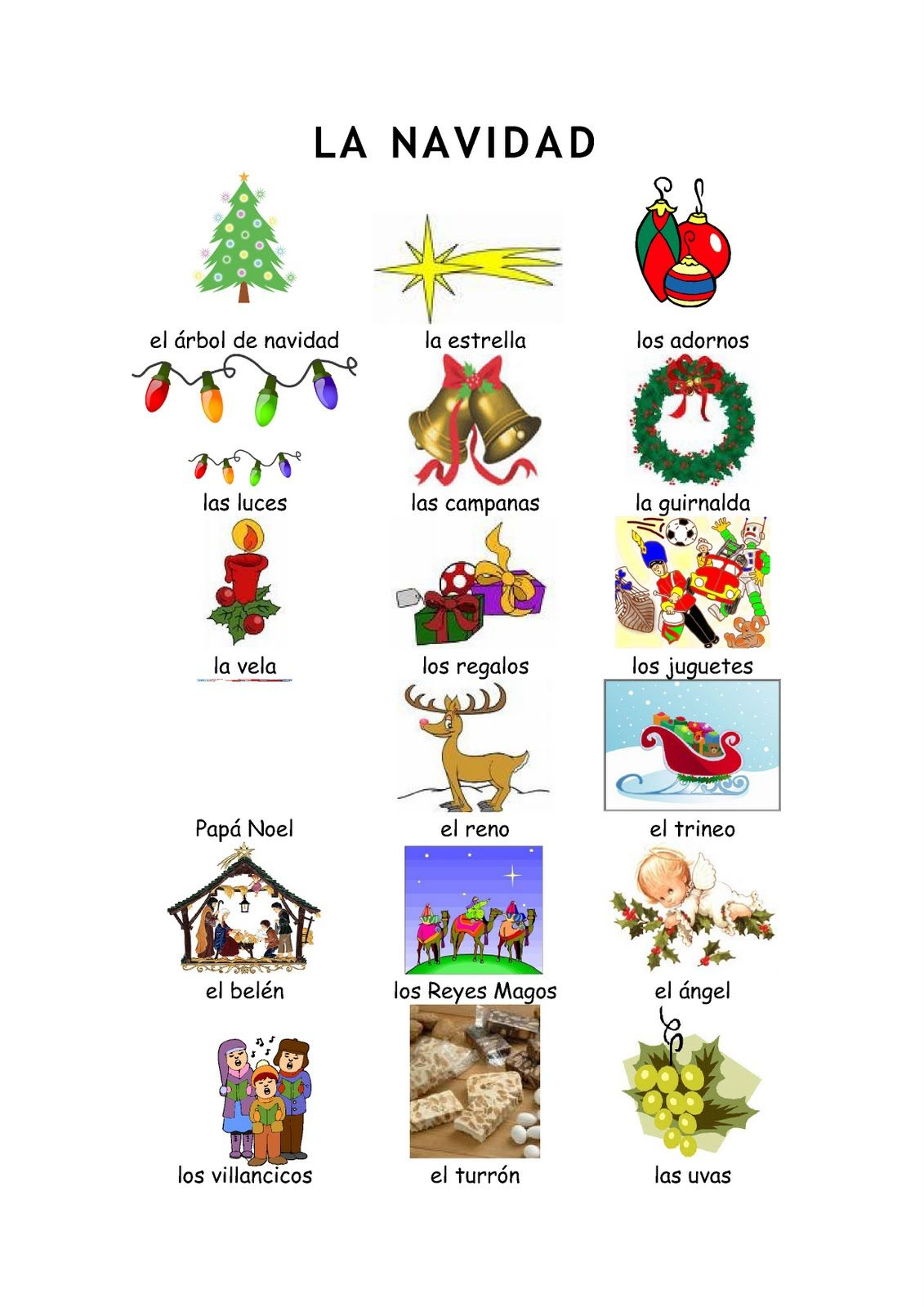 Christmas Spanish Vocabulary Vocabulario De La Navidad