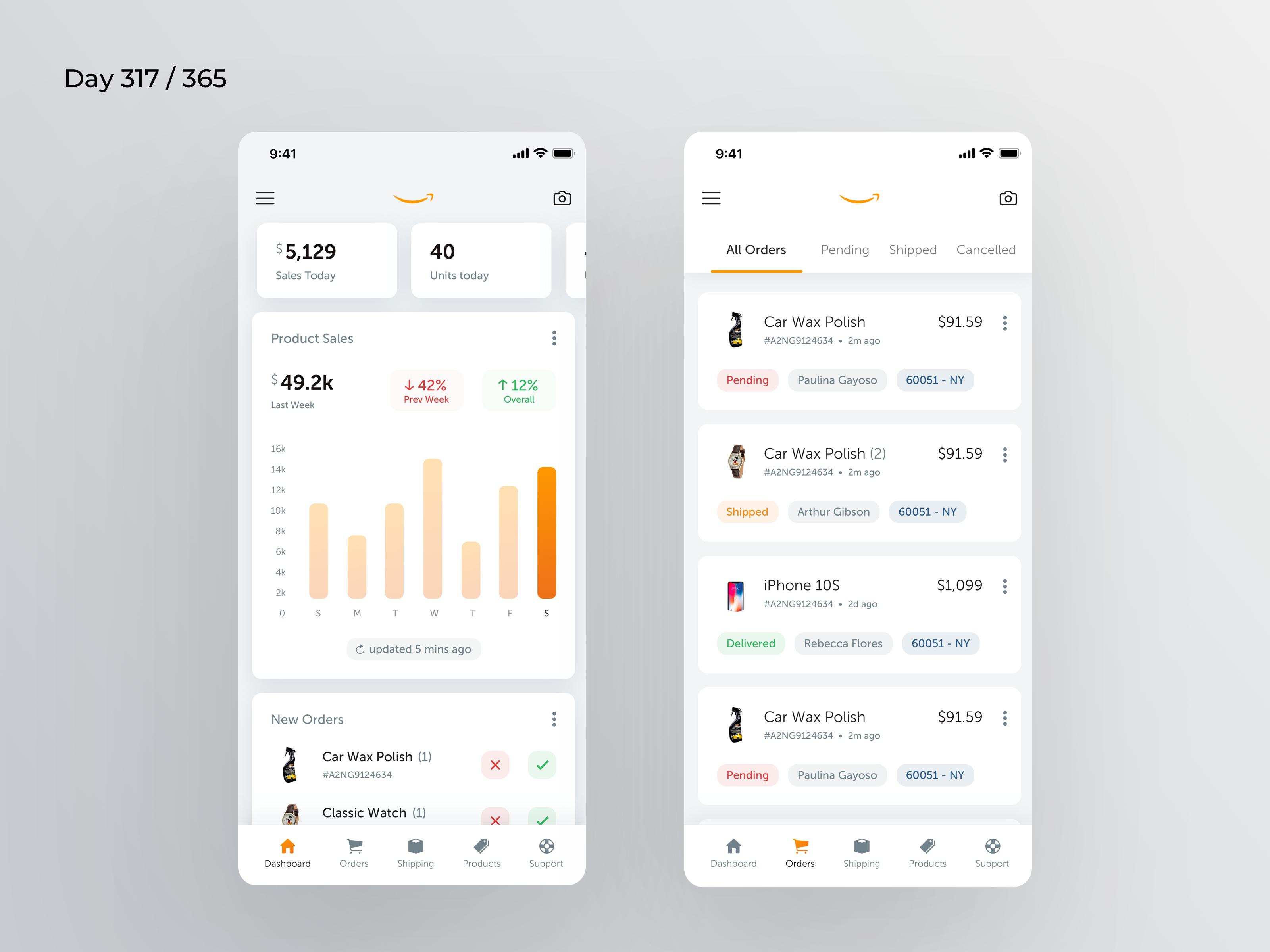 Amazon Seller App Redesign Day 317 365 Project365 Trip Planner App App App Design