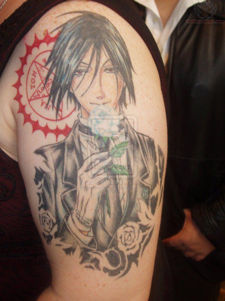 anime tattoos Black Butler Anime Tattoo On Bicep
