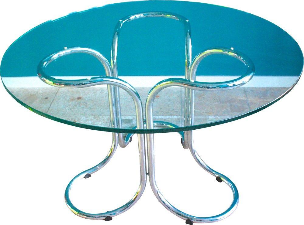 Table ronde en verre et piétement en métal - 1970 Design market