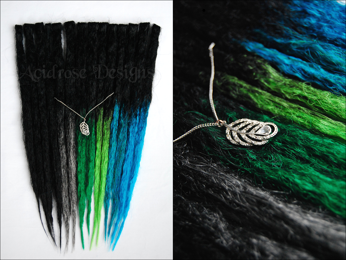 My first set of crocheted transitionals, inspired by the blue eared sterling ♥  See more #acidrosedesigns #synthetic #dreads @ www.facebook.com/acidrosedesigns
