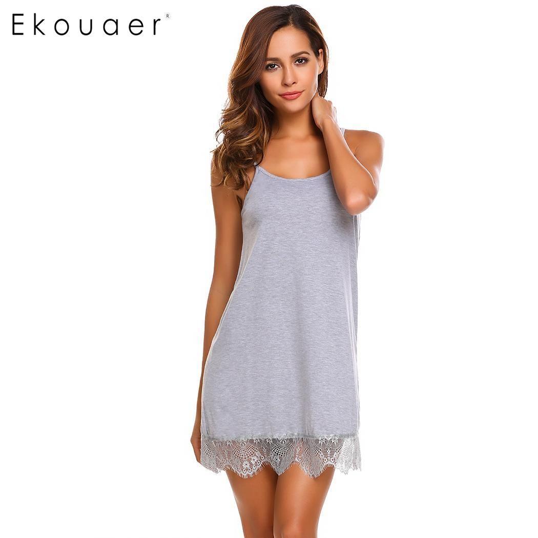 ed521ee8d3c Ekouaer Sexy Nightgown Lingerie Sleepwear Babydoll Nightdress Women Lace  Night Dress Full Slips Chemise Sleepshirts Nightwear