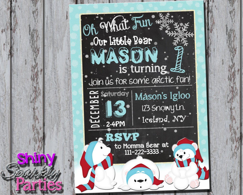 Printable Polar Bear Birthday Invitation (Digital File Only ...