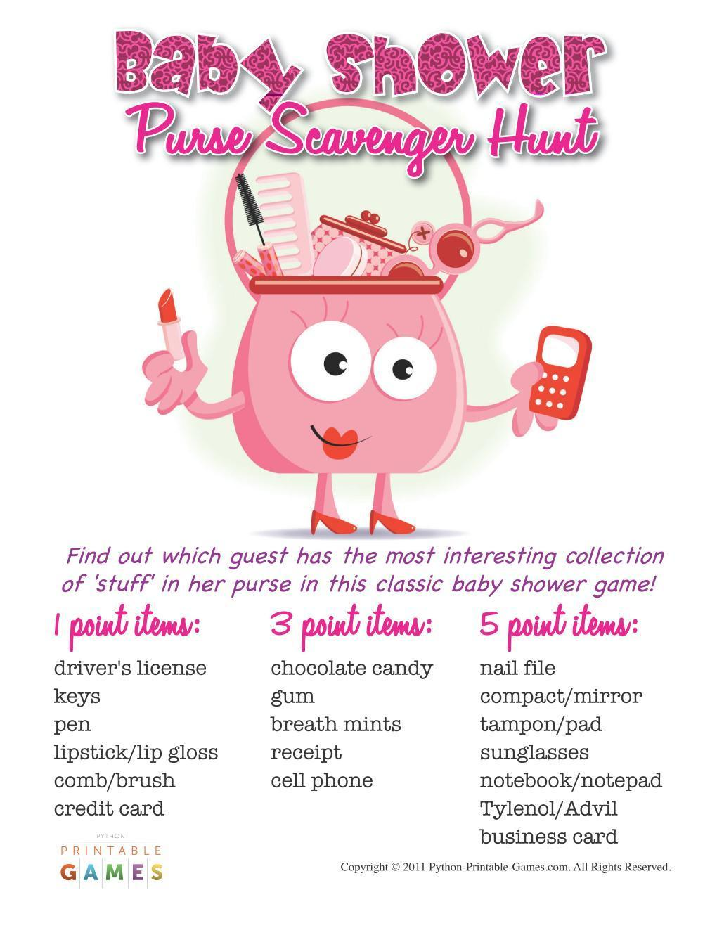 Printable Baby Shower Game: Purse Scavenger Hunt. baby shower games | baby  shower games for large groups | Baby Shower Games | NNT #ad  #babyshowerideas ...