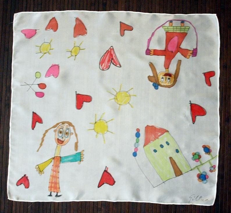 Hand painted Silk Mini- Drawings of children silk scarflette- Style Naïf Hand painted Silk scarf-Wom