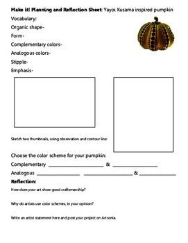 This Worksheet Helps Students To Plan Their Yayoi Kusama Pumpkin Painting