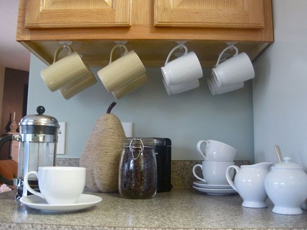 10 Ideas To Save Space In The Kitchen Under Cabinet Storage Mug Storage Kitchen Storage