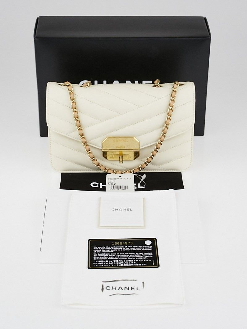 dde1369af $2495 yoogi Chanel White Chevron Quilted Lambskin Leather Gabrielle Small  Flap Bag