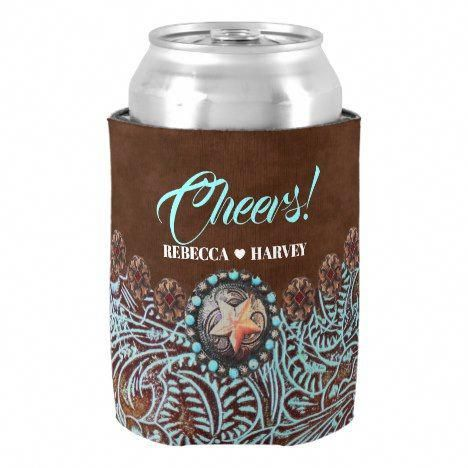 turquoise brown cowboy country western wedding can cooler | Zazzle.com