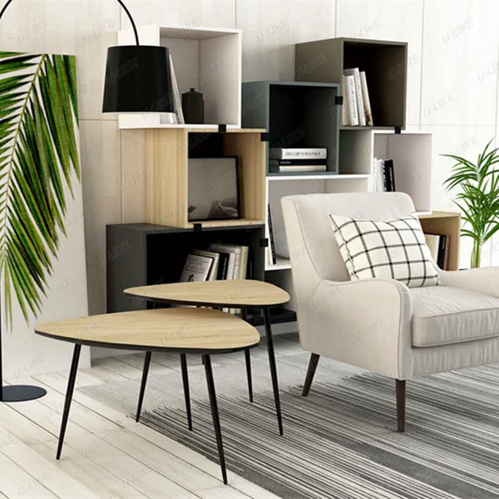 Scandinavian design coffee tables in a soft triangle