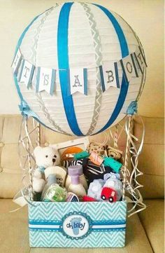 Hot air balloon baby shower gift basket baby shower invitations hot air balloon baby shower gift basket negle Choice Image