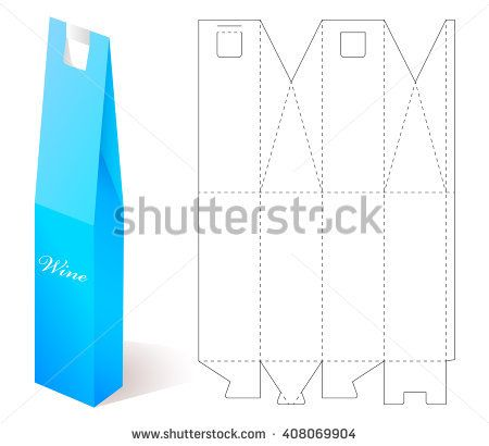 stock-vector-box-mock-up-wine-paper-blueprint-template-gift-craft - box template