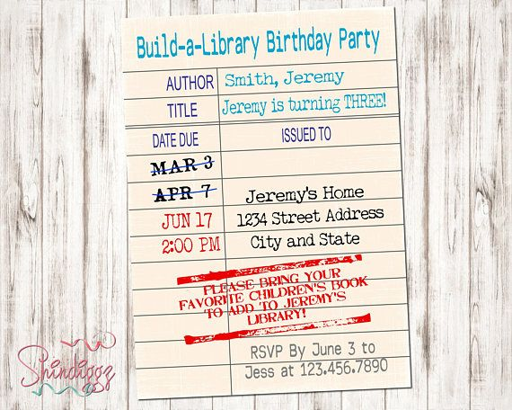 Library Card Invitations Book Theme Party Build A Library Book
