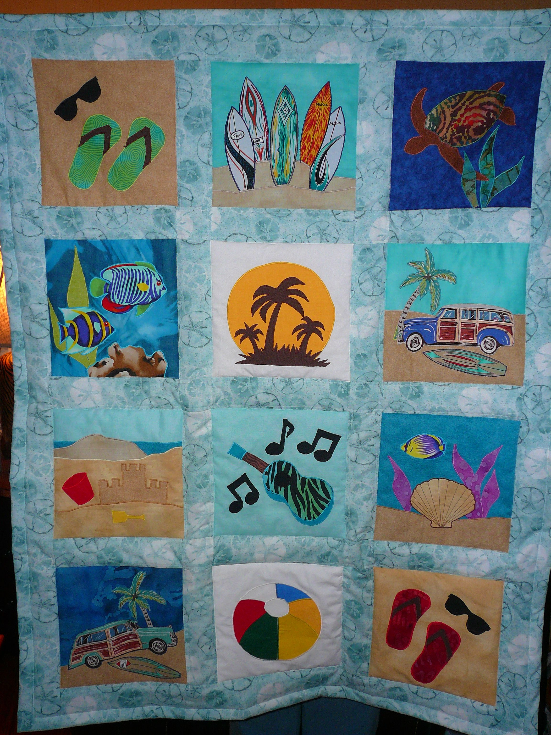 Pin By Nona Dominguez On One Needle Two Needles Beach Quilt Beach Themed Quilts Beach House Quilts