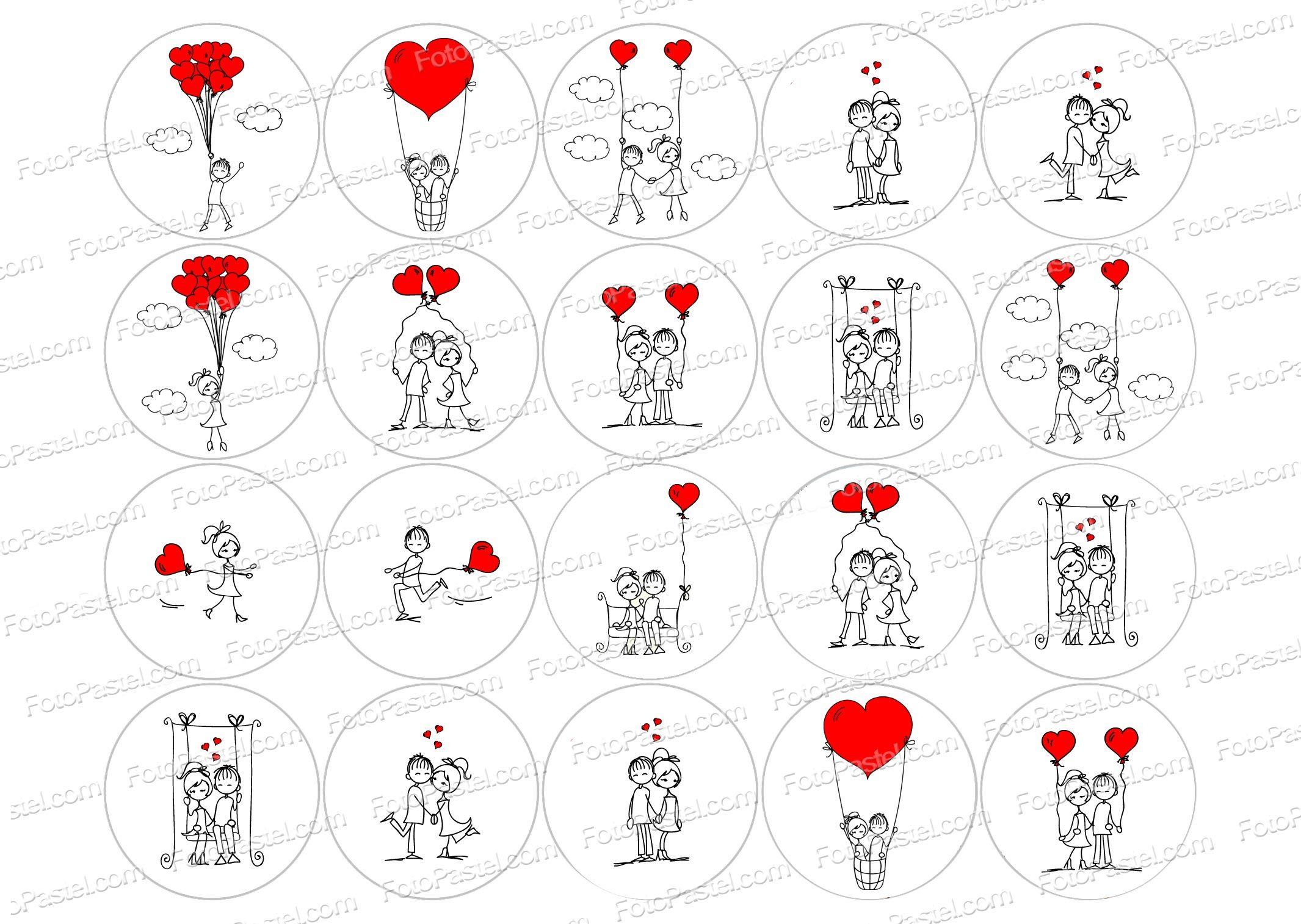 San Valentin 2 - 1 hoja con 20 circulos de 5 cm impresa
