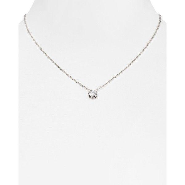 Diane von Furstenberg Cubic Zirconia Pendant Necklace, 16 ($58) ❤ liked on Polyvore