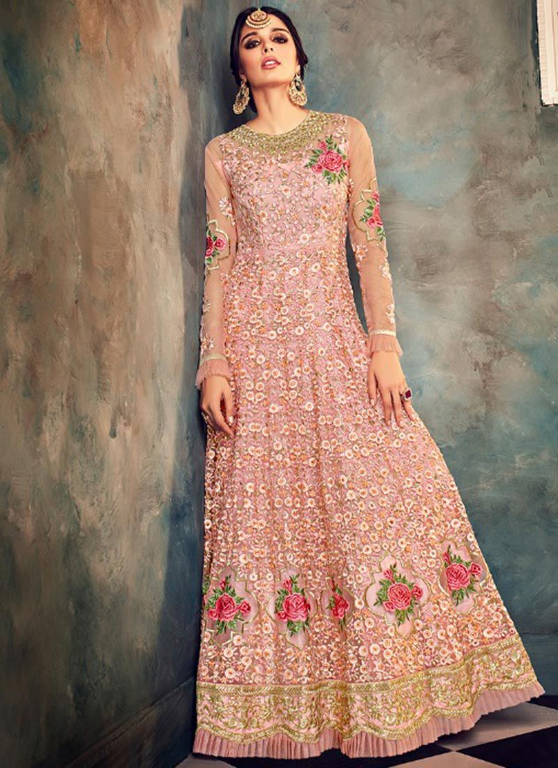 cea6879f42 Buy Peach color net party wear anarkali suit in UK, USA and Canada ...