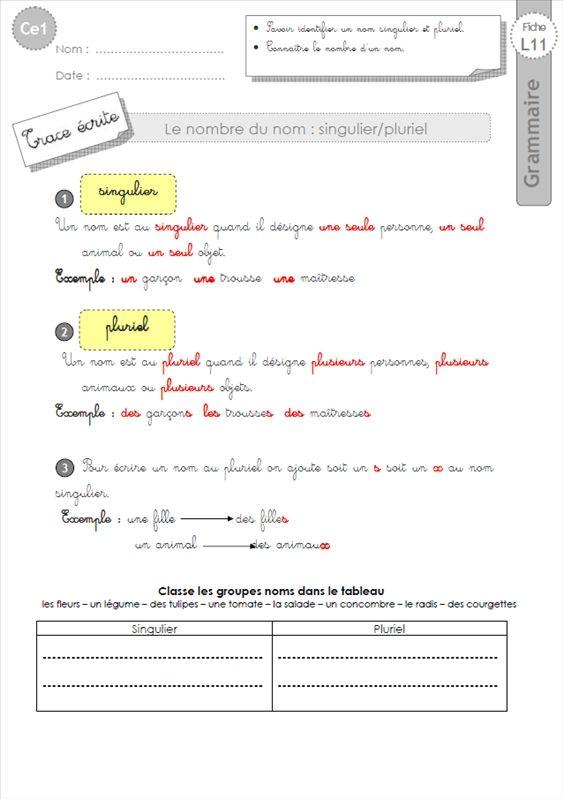 ce1: Leçon le nombre du nom GRAMMAIRE | Ce1