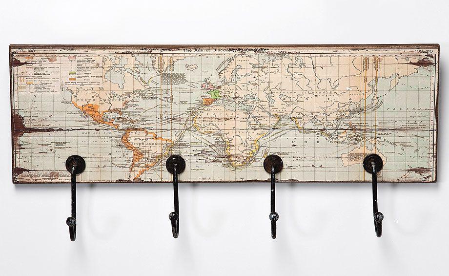 Perchero rectangular mapa del mundo material madera - Percheros de pared originales ...